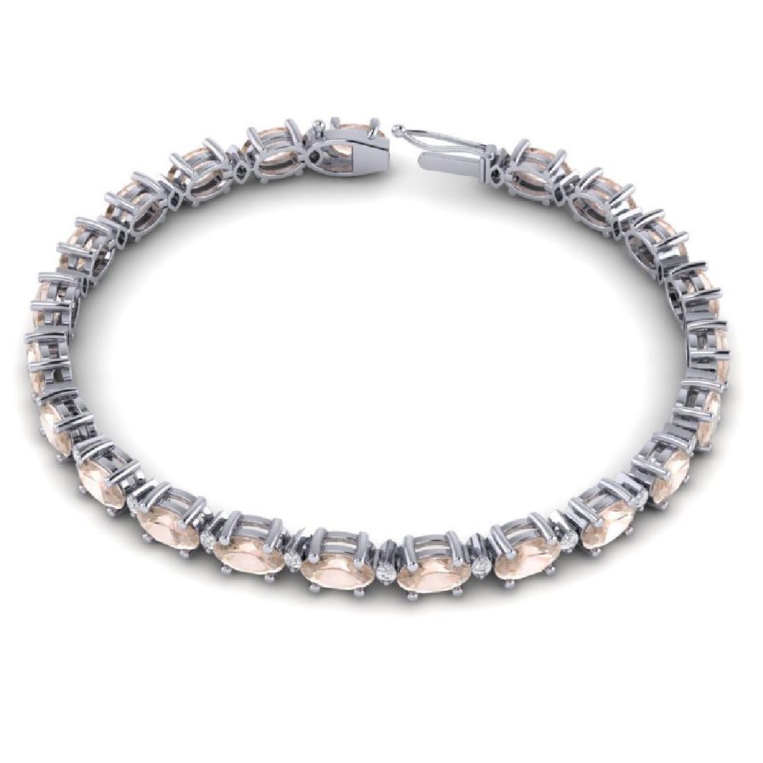 11 CTW Morganite & VS/SI Diamond Eternity Bracelet 10K - 3