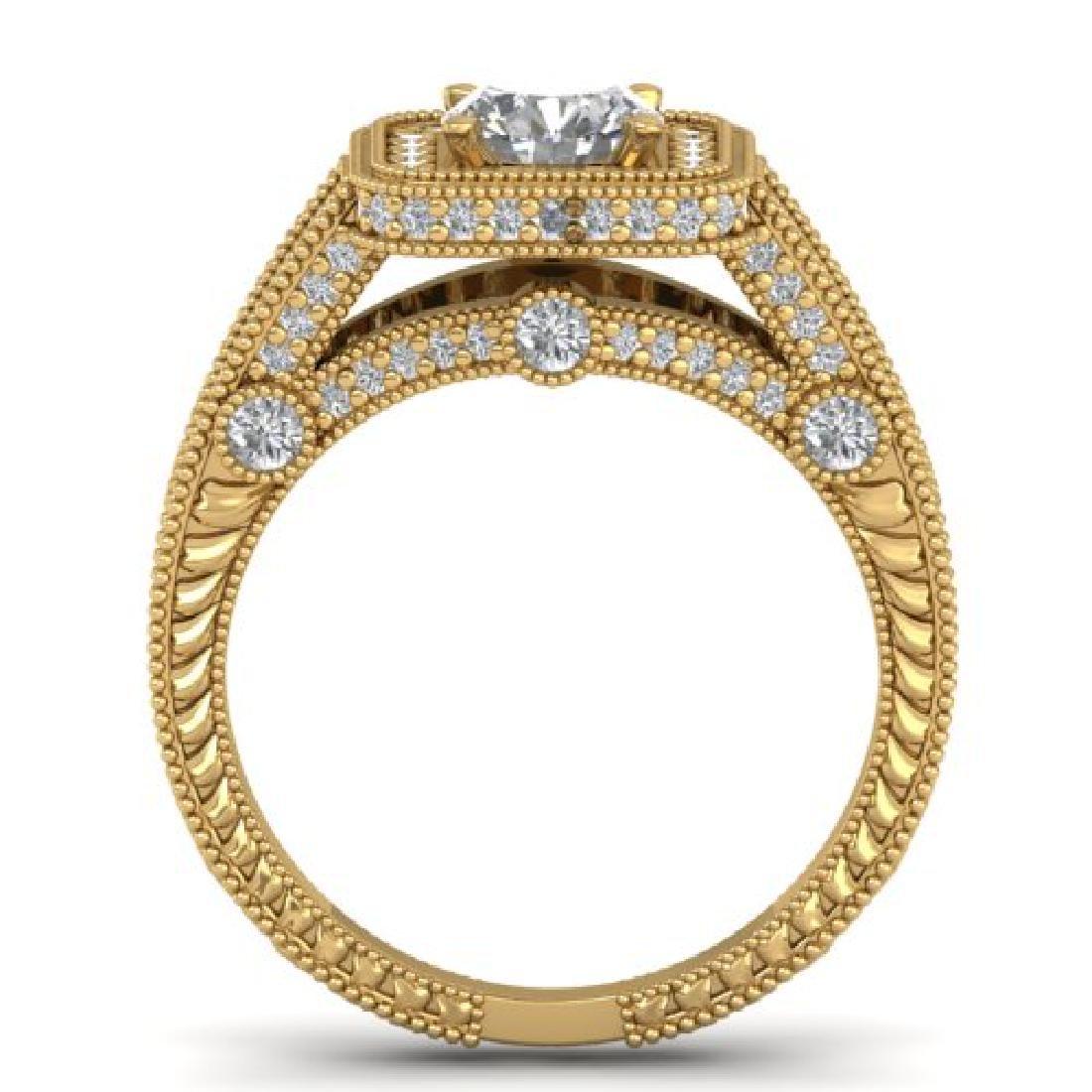 2 CTW Certified VS/SI Diamond Art Deco Halo Ring 18K - 3