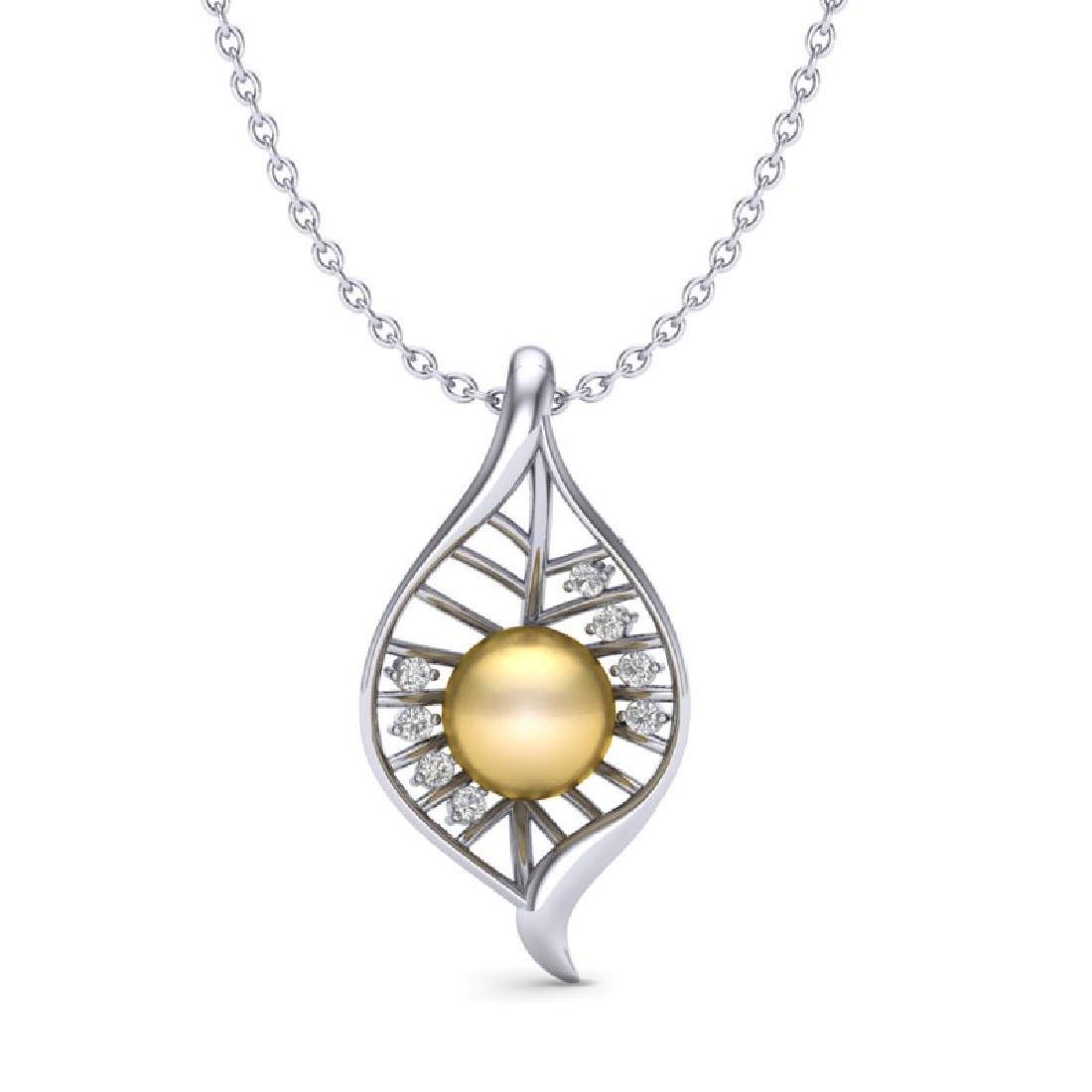 0.31 CTW VS/SI Diamond Golden Pearl Necklace 14K White