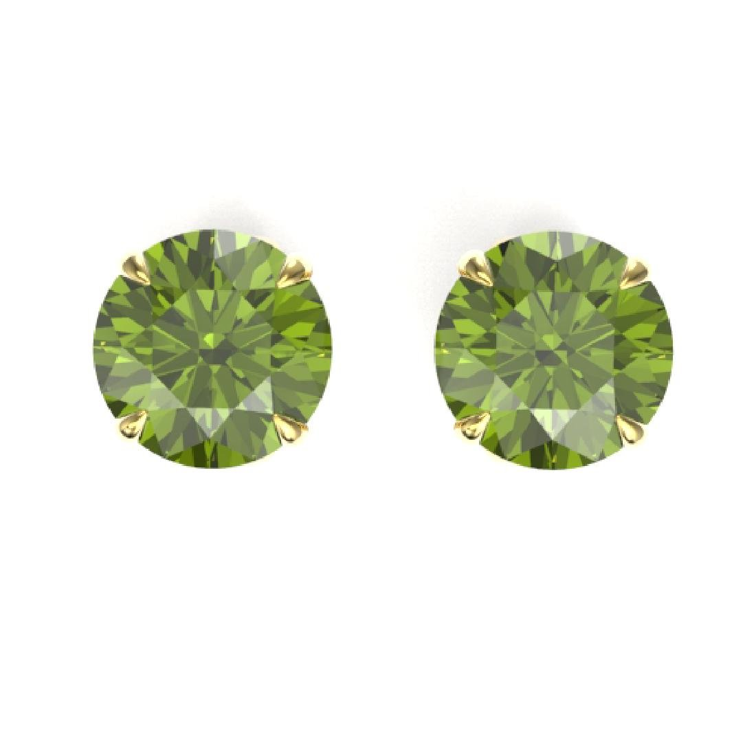 4 CTW Green Tourmaline Designer Solitaire Stud Earrings