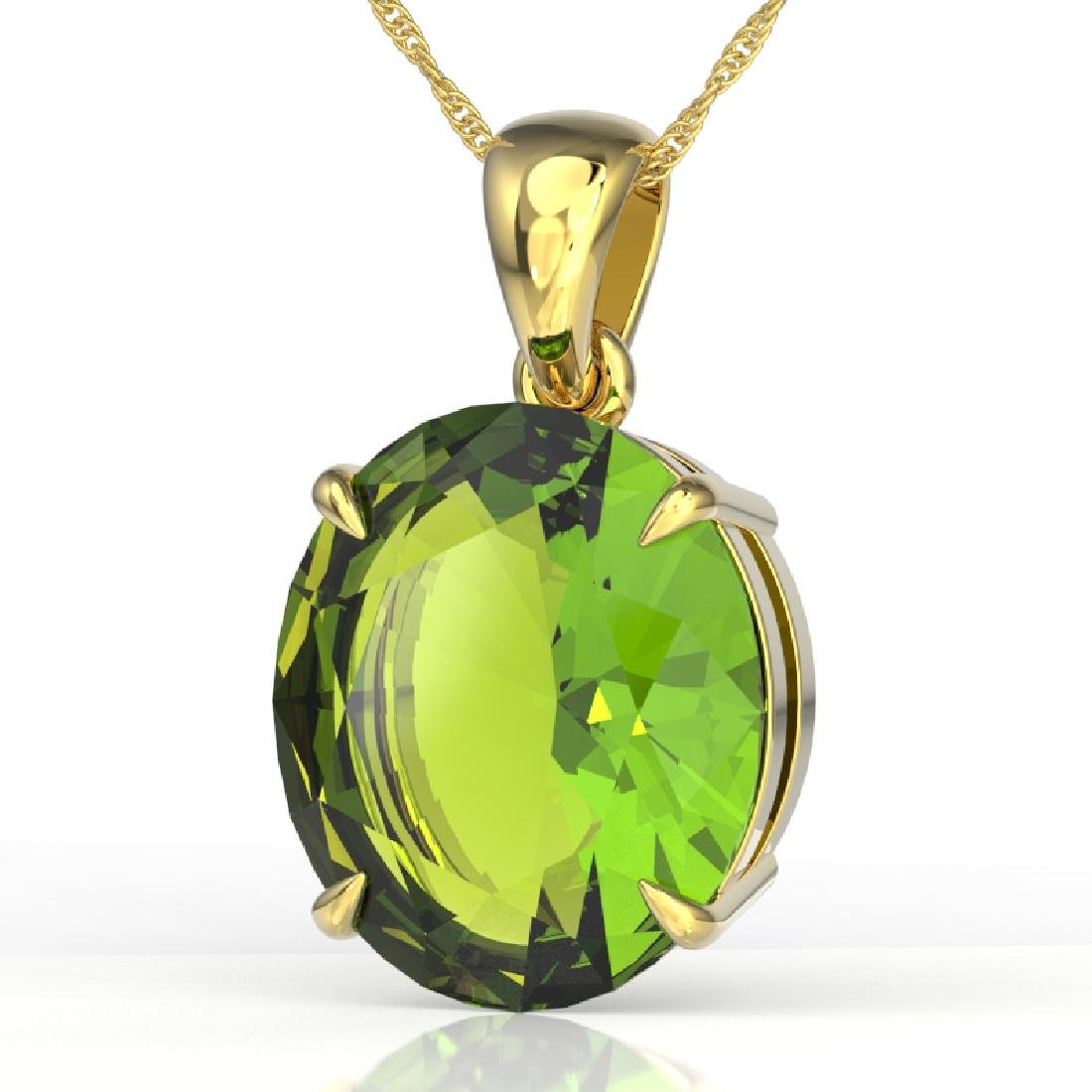 9 CTW Peridot Designer Solitaire Necklace 18K Yellow