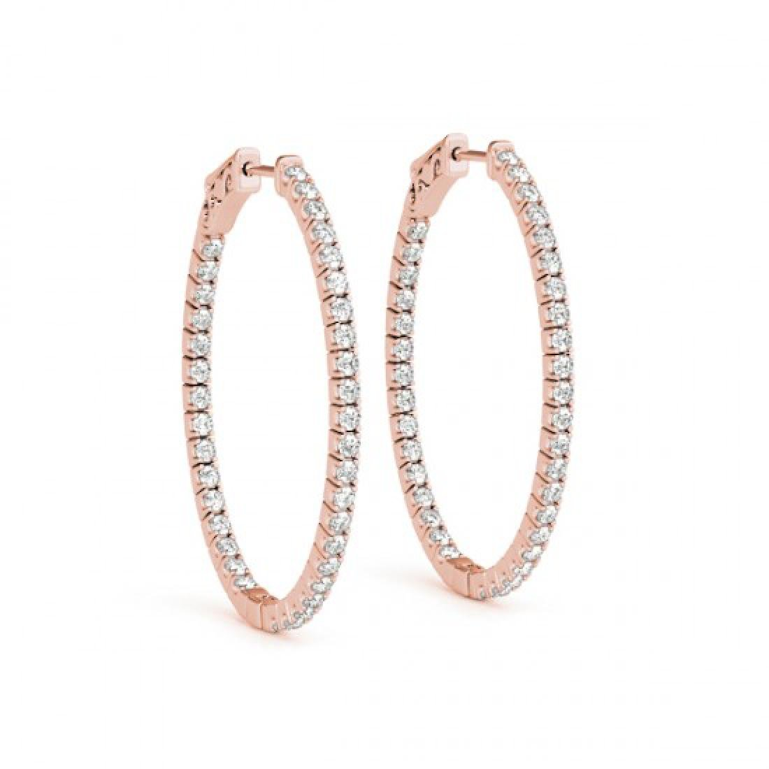 1.55 CTW Diamond VS/SI Certified 30 Mm Hoop Earrings - 2
