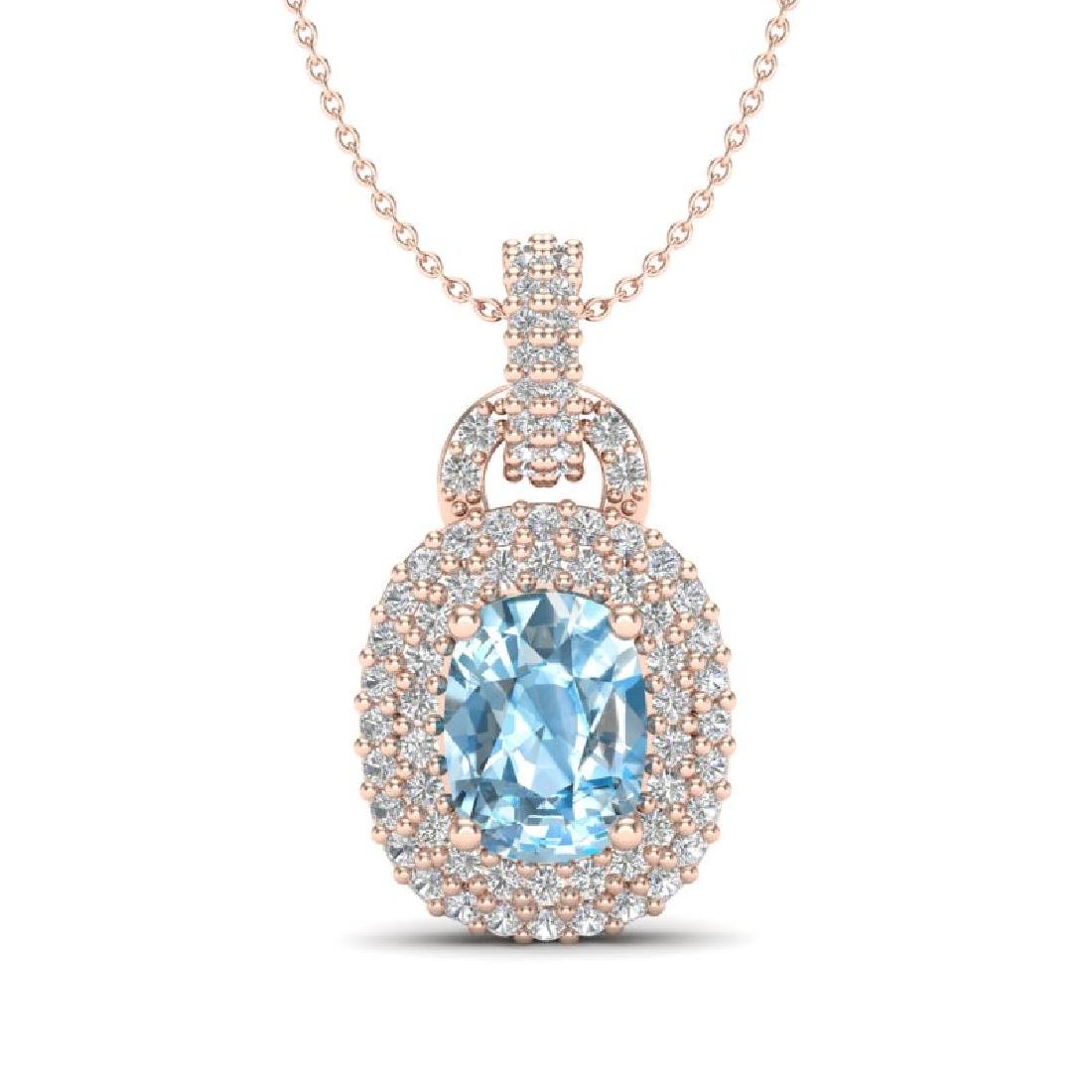 2.50 CTW Sky Blue Topaz & Micro Pave VS/SI Diamond