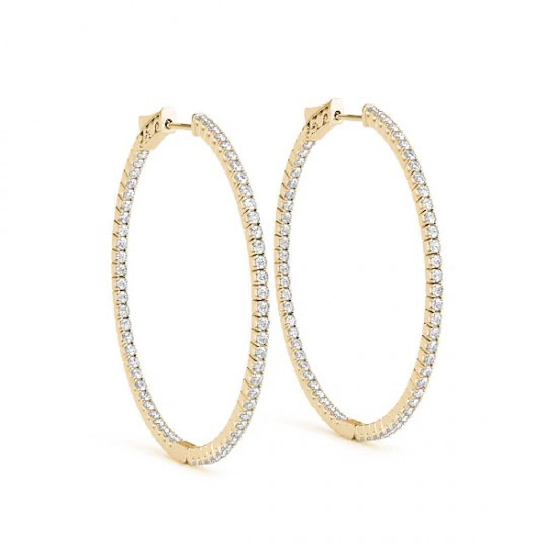 2 CTW Diamond VS/SI Certified 52 Mm Hoop Earrings 14K - 2