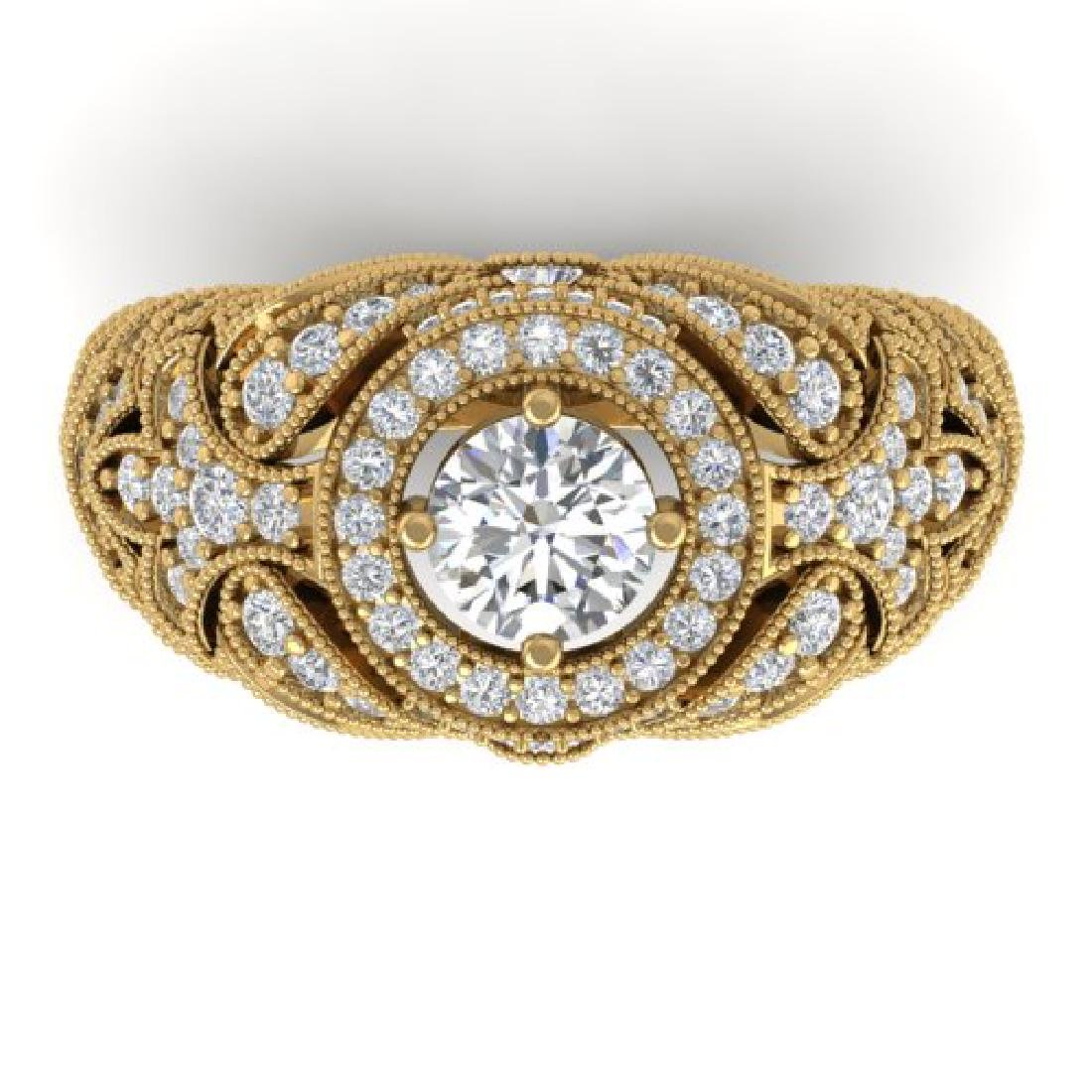 2.35 CTW Certified VS/SI Diamond Art Deco Halo Ring 18K