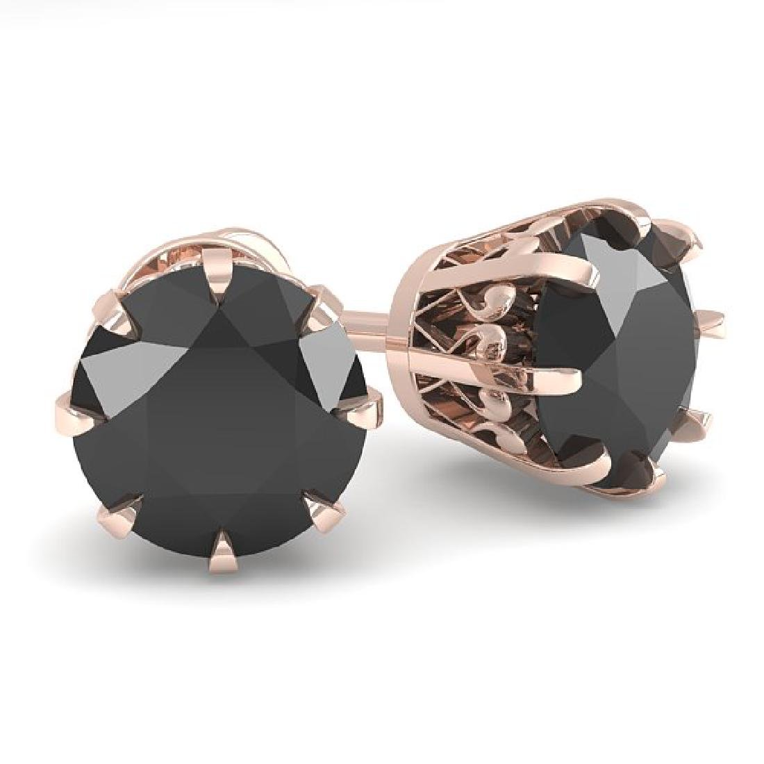 2.0 CTW Black Diamond Stud Solitaire Earrings 14K Rose