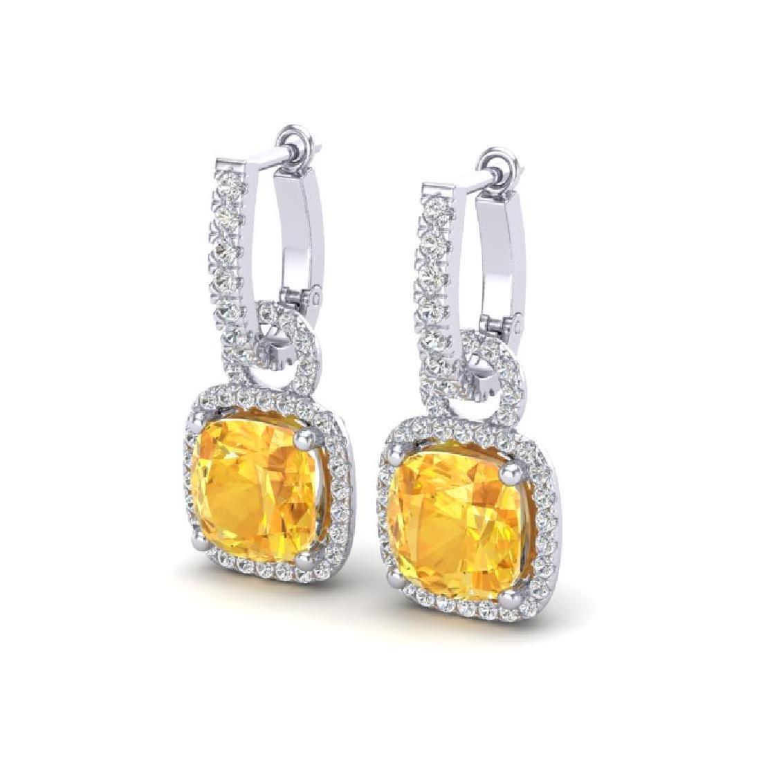7 CTW Citrine & Micro Pave VS/SI Diamond Earrings 18K