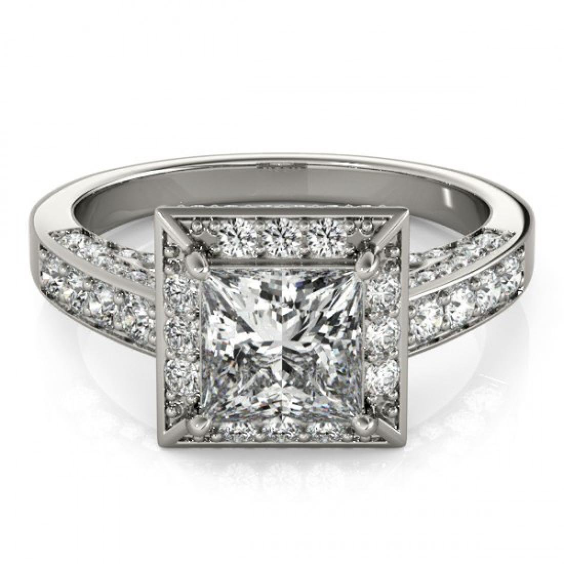 1.5 CTW Certified VS/SI Princess Diamond Solitaire Halo