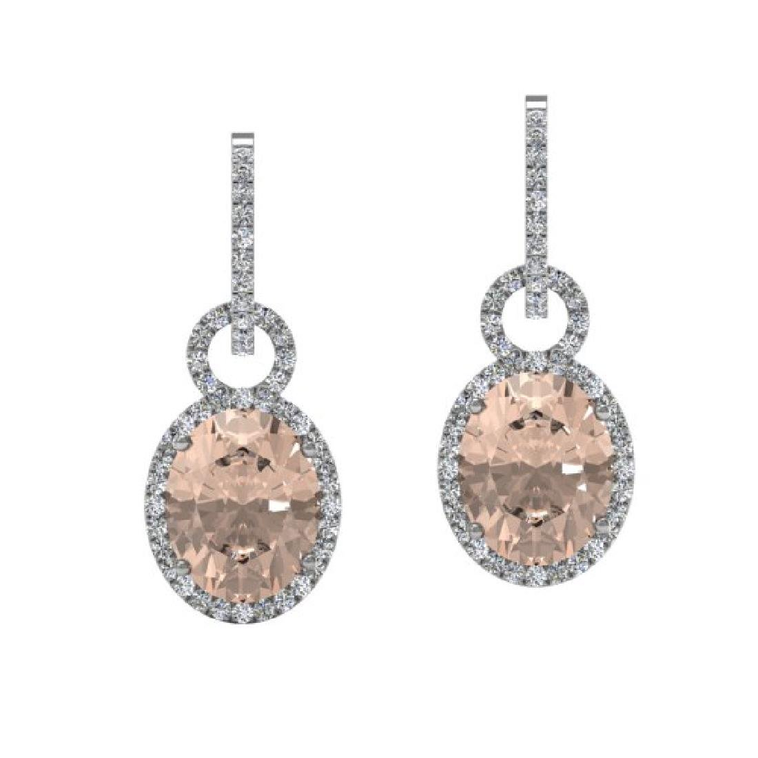 7 CTW Morganite & Micro Pave Solitaire Halo VS/SI