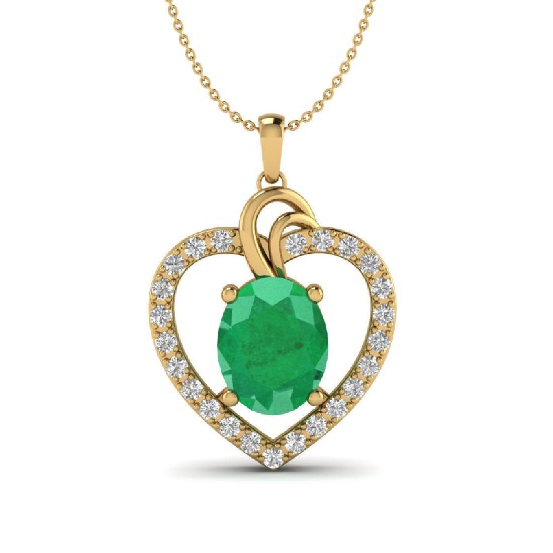 4 CTW Emerald & VS/SI Diamond Designer Inspired Heart