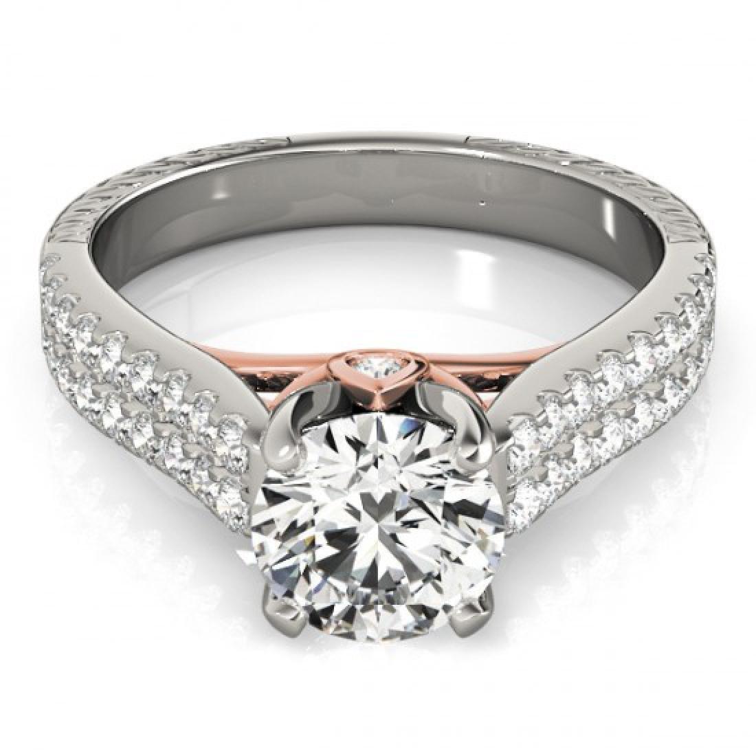 1.36 CTW Certified VS/SI Diamond Pave Ring 14K White &