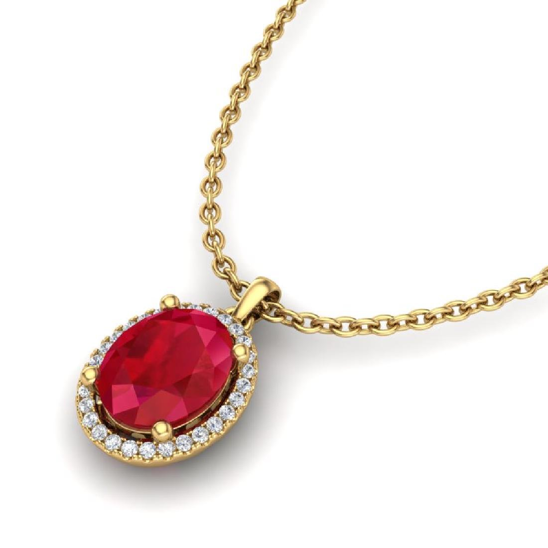 3 CTW Ruby & Micro Pave VS/SI Diamond Necklace Halo 18K
