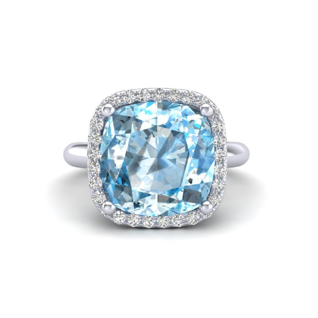 6 CTW Sky Blue Topaz & Micro Pave Halo VS/SI Diamond