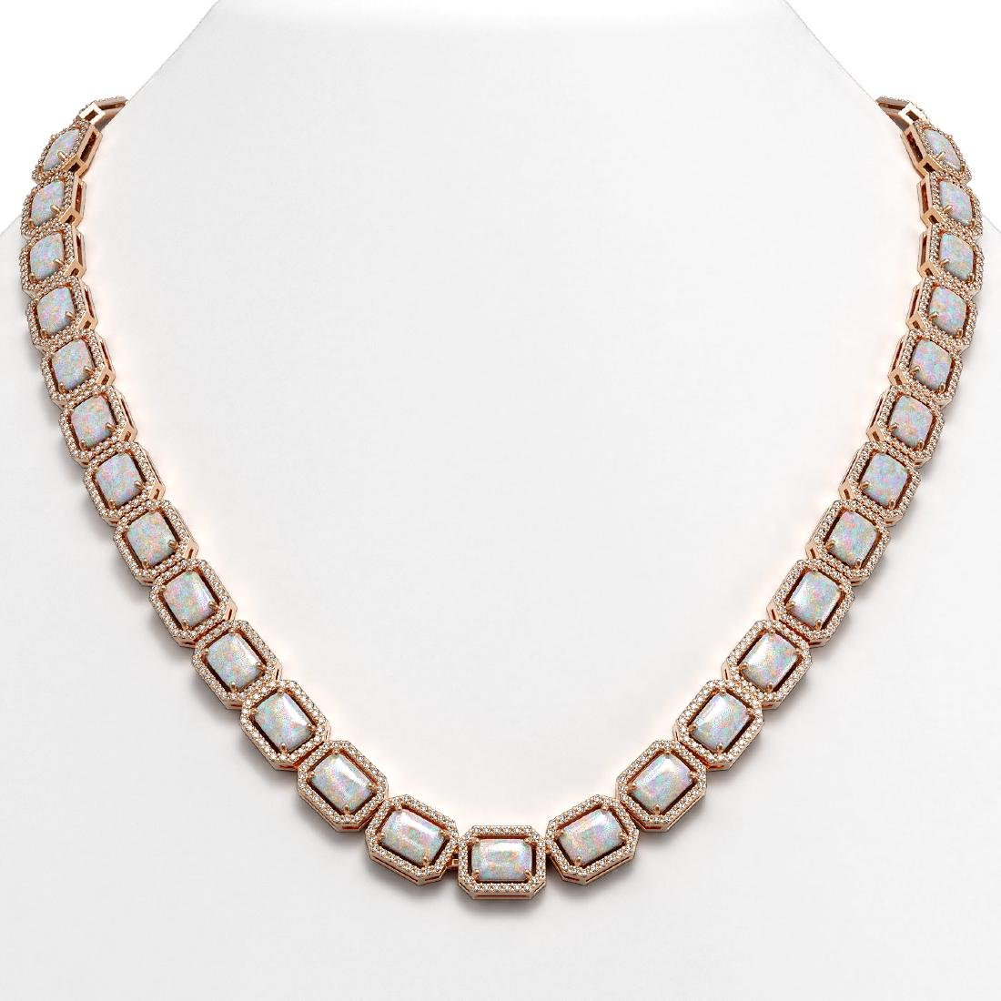 37.69 CTW Opal & Diamond Halo Necklace 10K Rose Gold