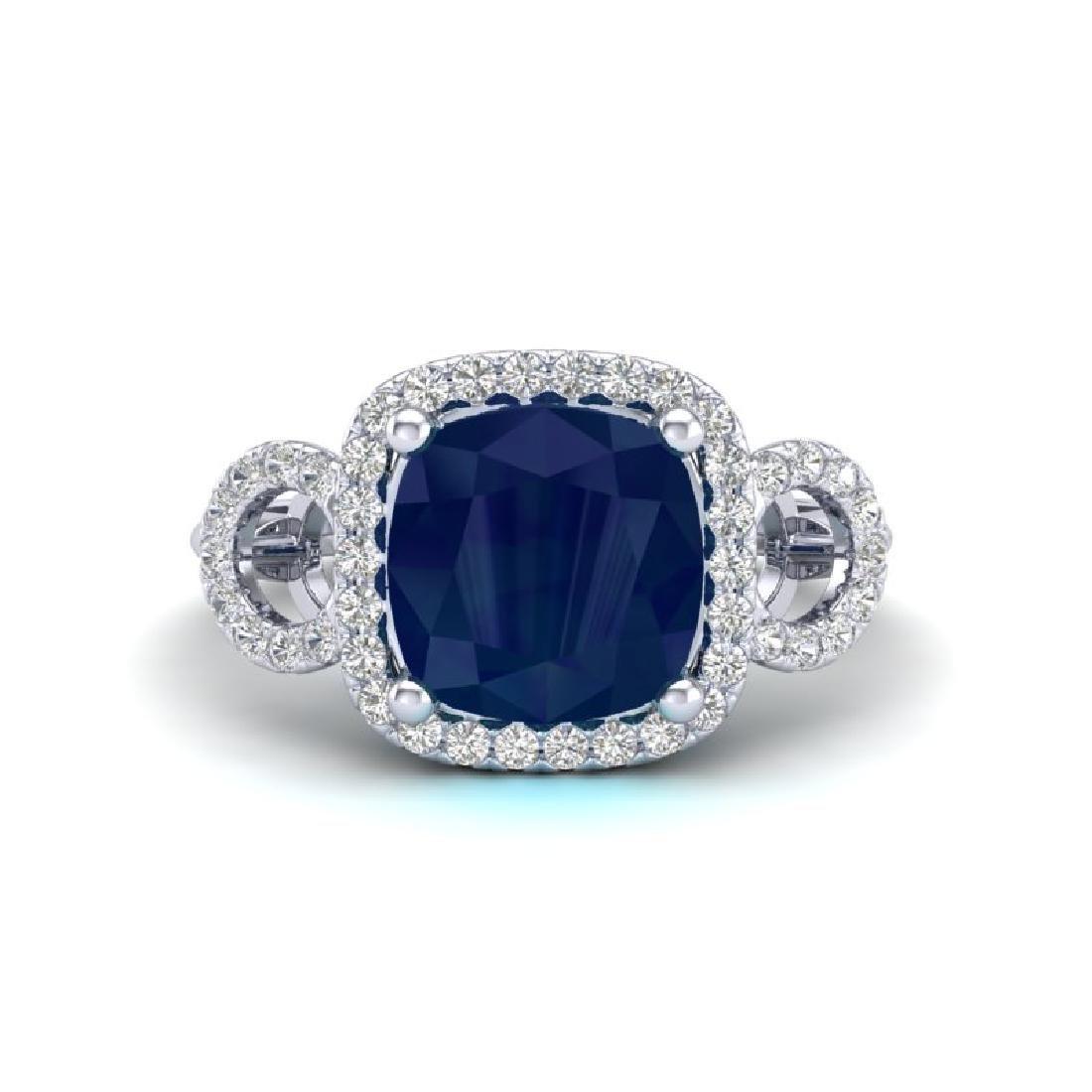 3.15 CTW Sapphire & Micro VS/SI Diamond Ring 18K White