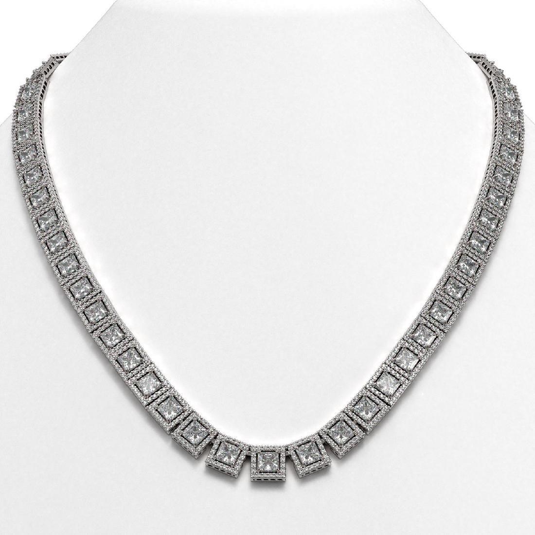 36.30 CTW Princess Diamond Designer Necklace 18K White