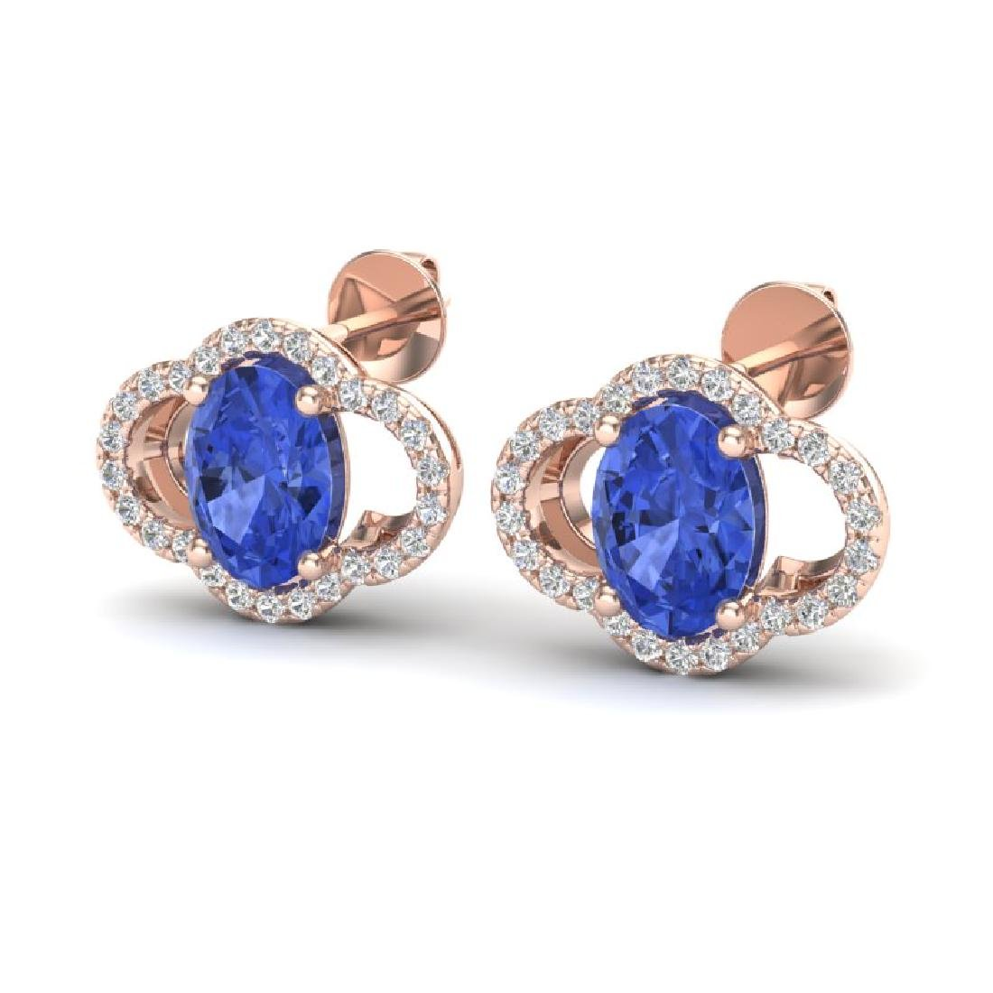 3.50 CTW Tanzanite & Micro Pave VS/SI Diamond Earrings