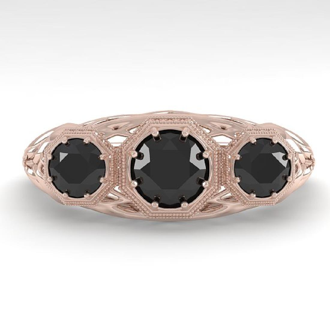 1.00 CTW Black Diamond Art Deco Ring 14K Rose Gold