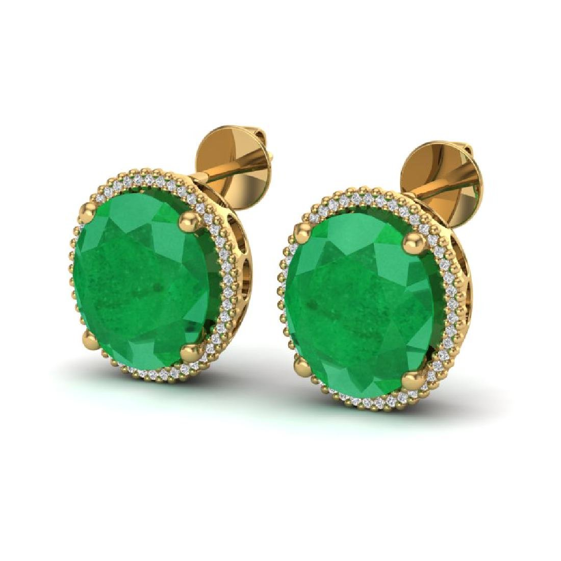 25 CTW Emerald & Micro Pave VS/SI Diamond Halo Earrings