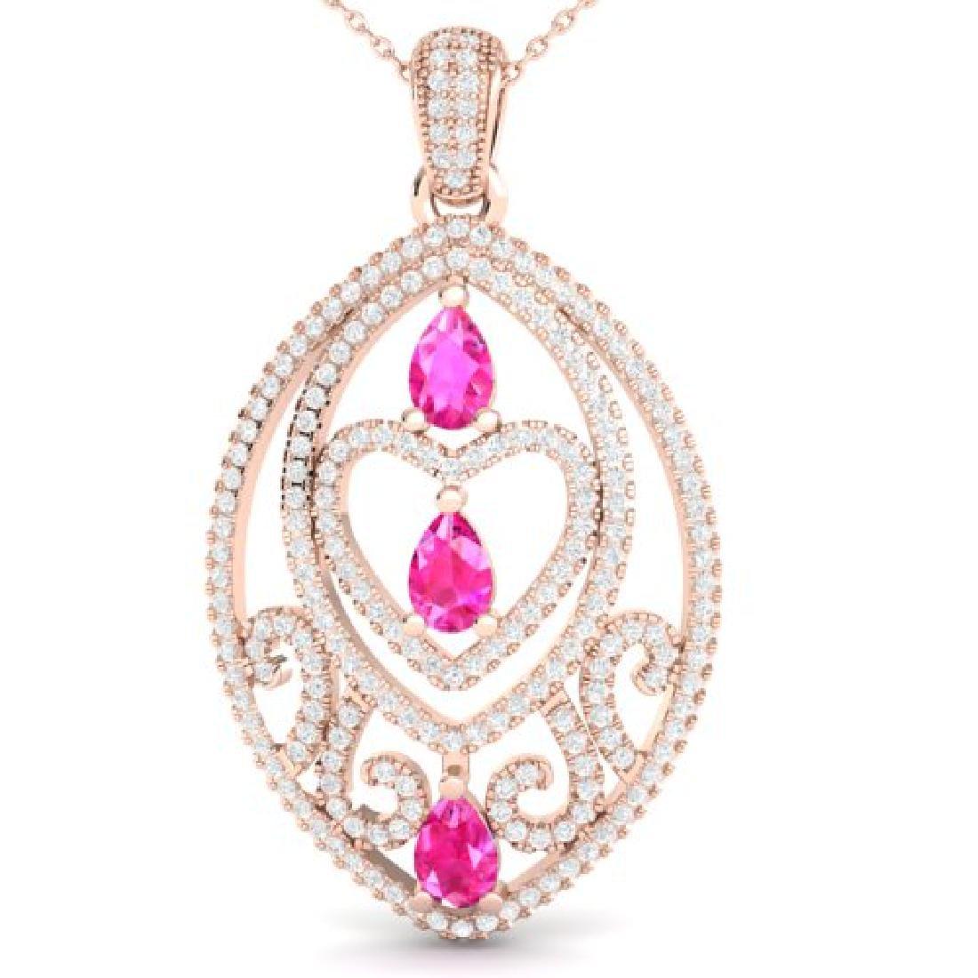 3.50 CTW Pink Sapphire & Micro VS/SI Diamond Heart