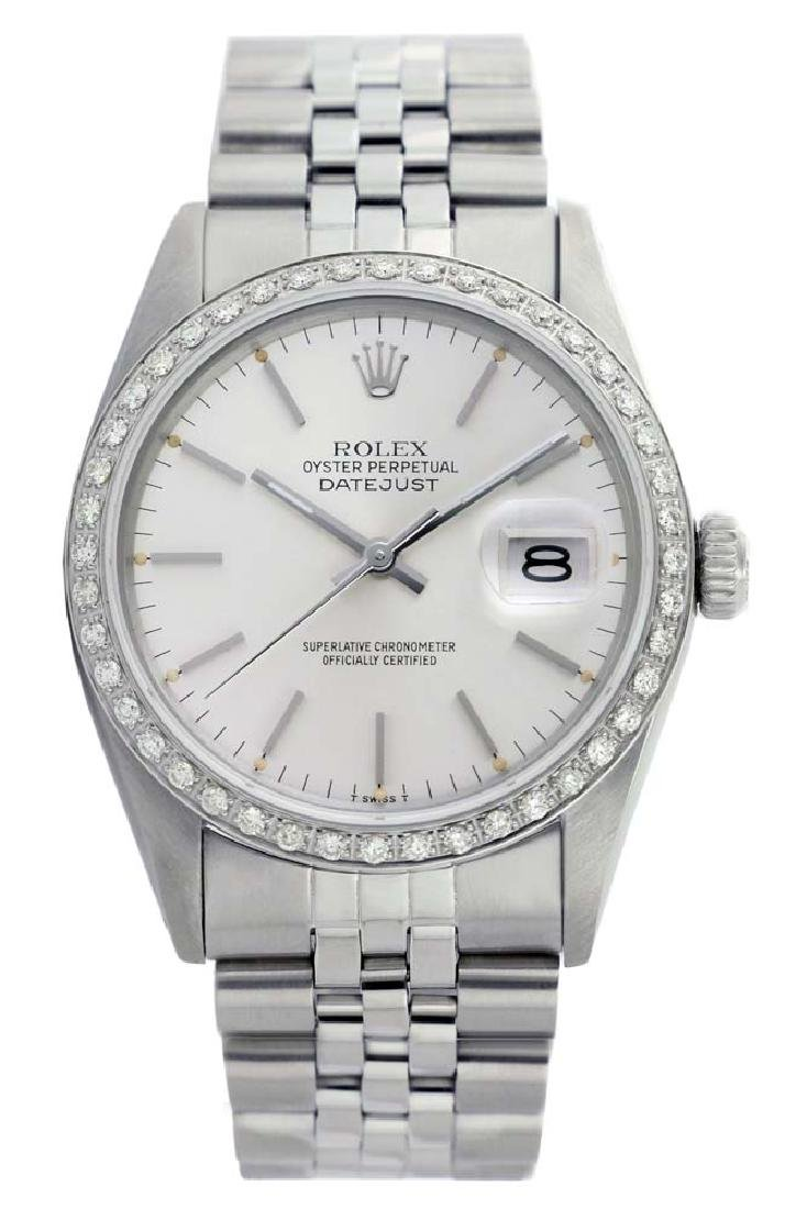 Rolex Men's Stainless Steel, QuickSet, Index Bar Dial