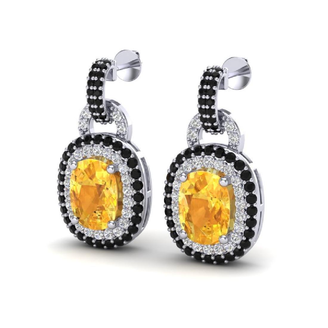 5 CTW Citrine With Black & Micro VS/SI Diamond Earrings
