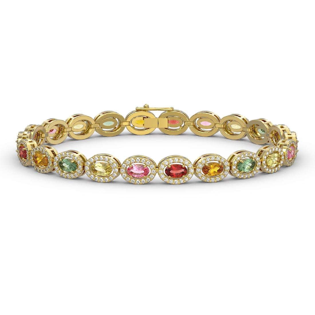 10.04 CTW Multi Color Sapphire & Diamond Halo Bracelet