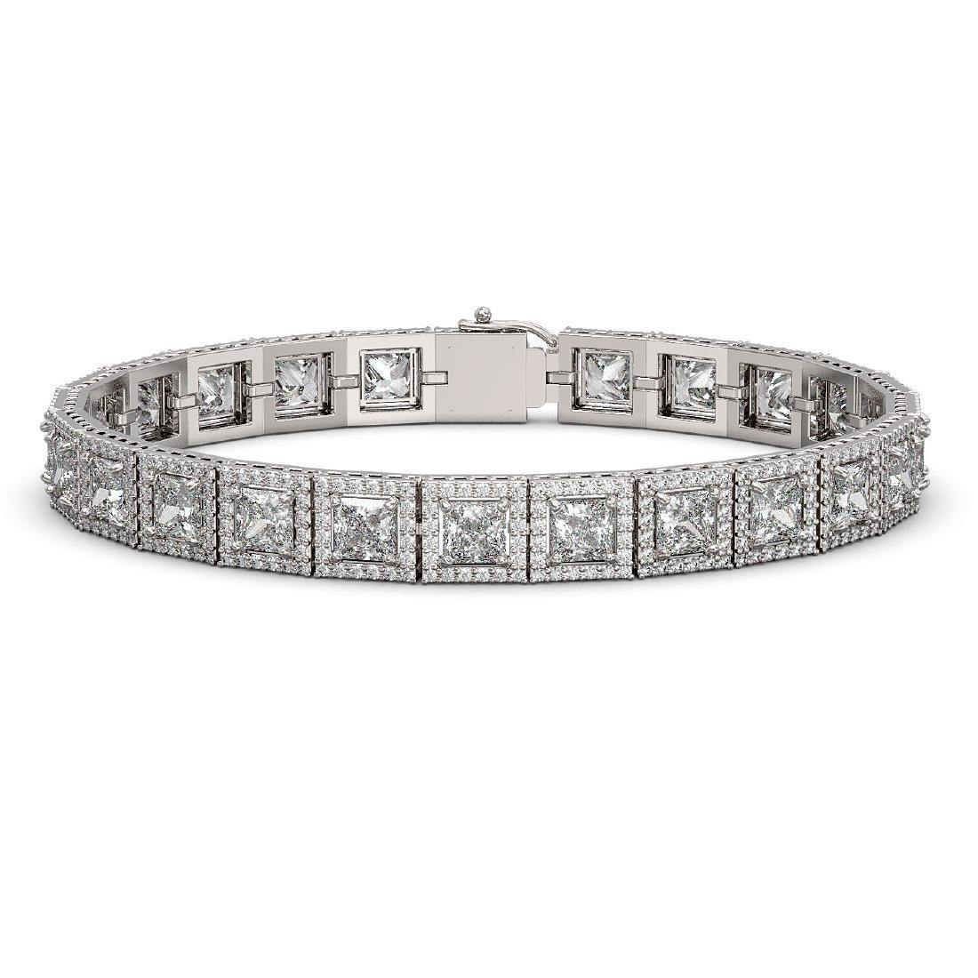 15.87 CTW Princess Diamond Designer Bracelet 18K White