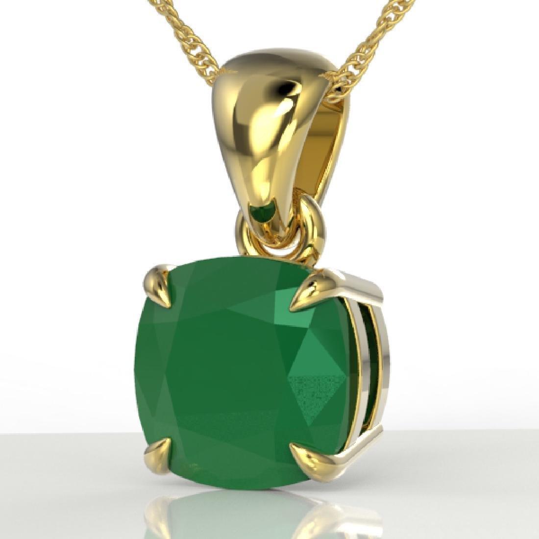 2 Cushion Cut CTW Emerald Designer Solitaire Necklace