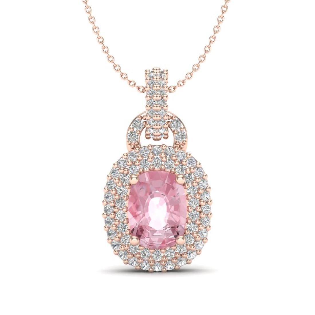 2.50 CTW Morganite & Micro Pave VS/SI Diamond Necklace
