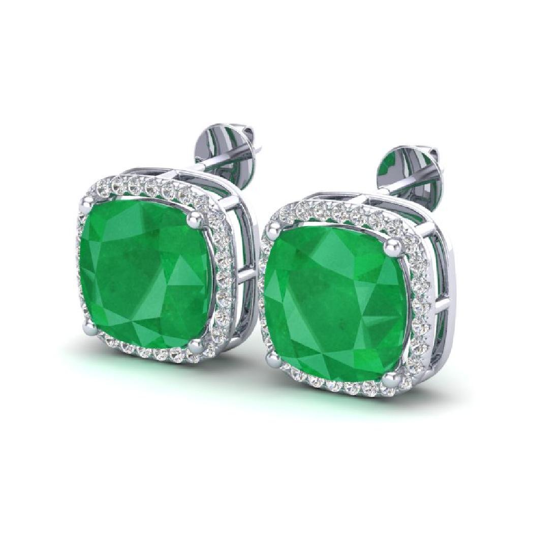 12 CTW Emerald & Micro Pave Halo VS/SI Diamond Earrings