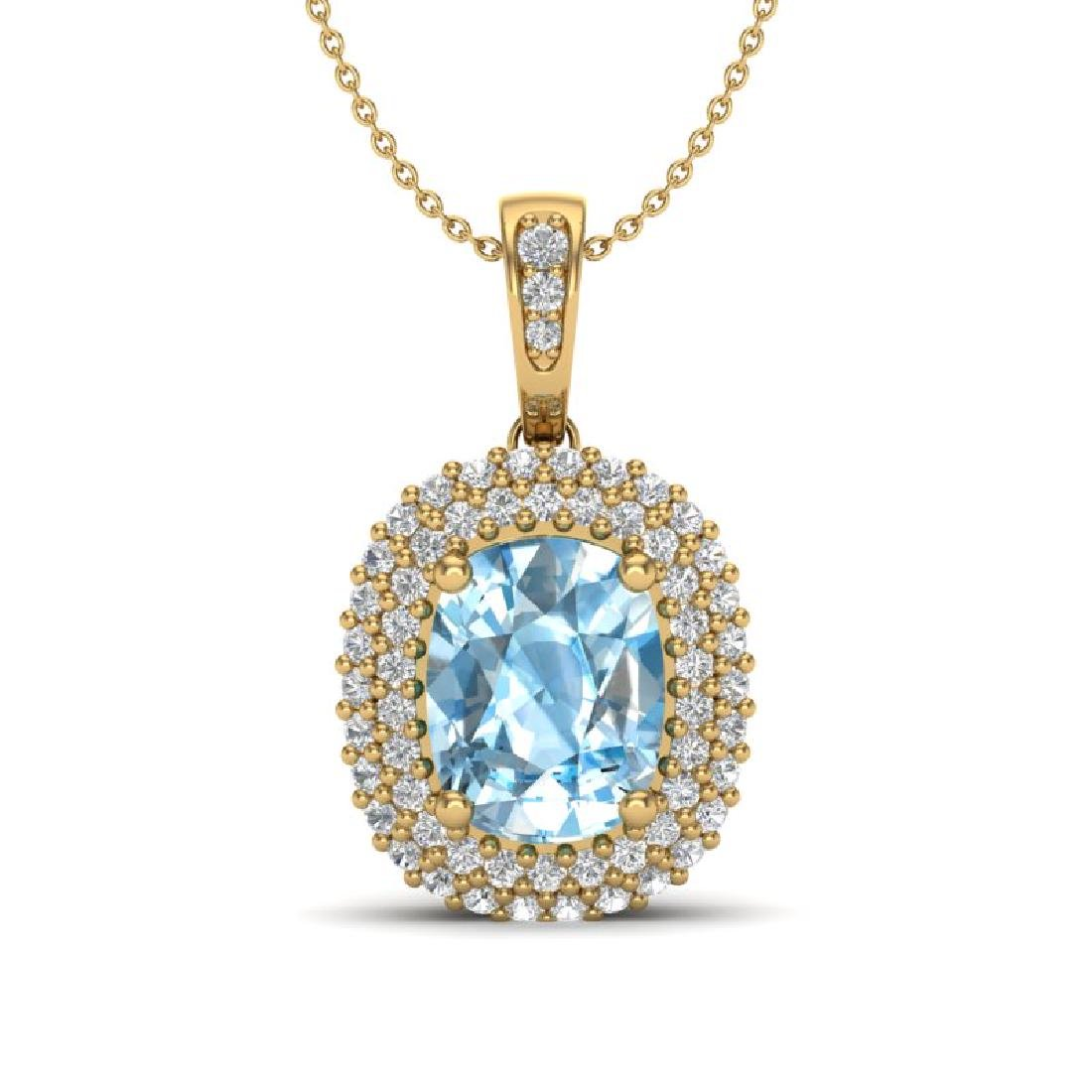 3 CTW Blue Topaz & Micro Pave VS/SI Diamond Halo