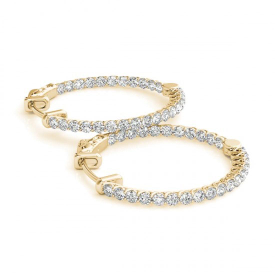 2 CTW Diamond VS/SI Certified 21 Mm Hoop Earrings 14K