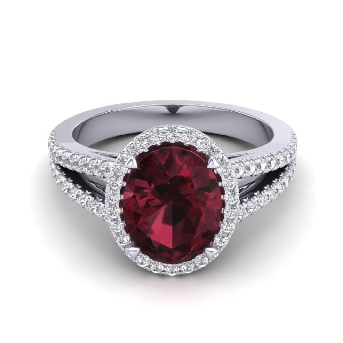 3 CTW Garnet & Micro VS/SI Diamond Halo Ring 18K White