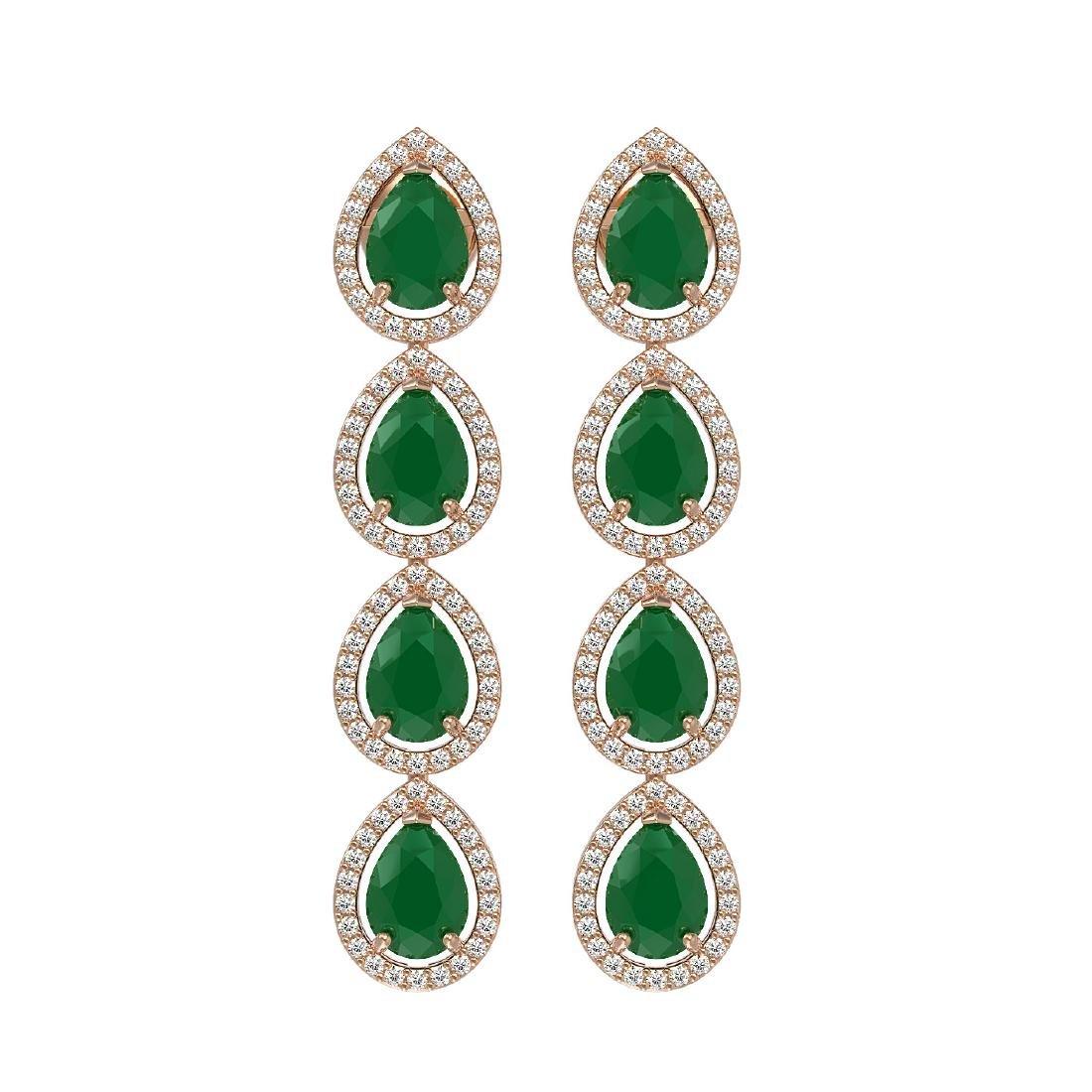 10.2 CTW Emerald & Diamond Halo Earrings 10K Rose Gold