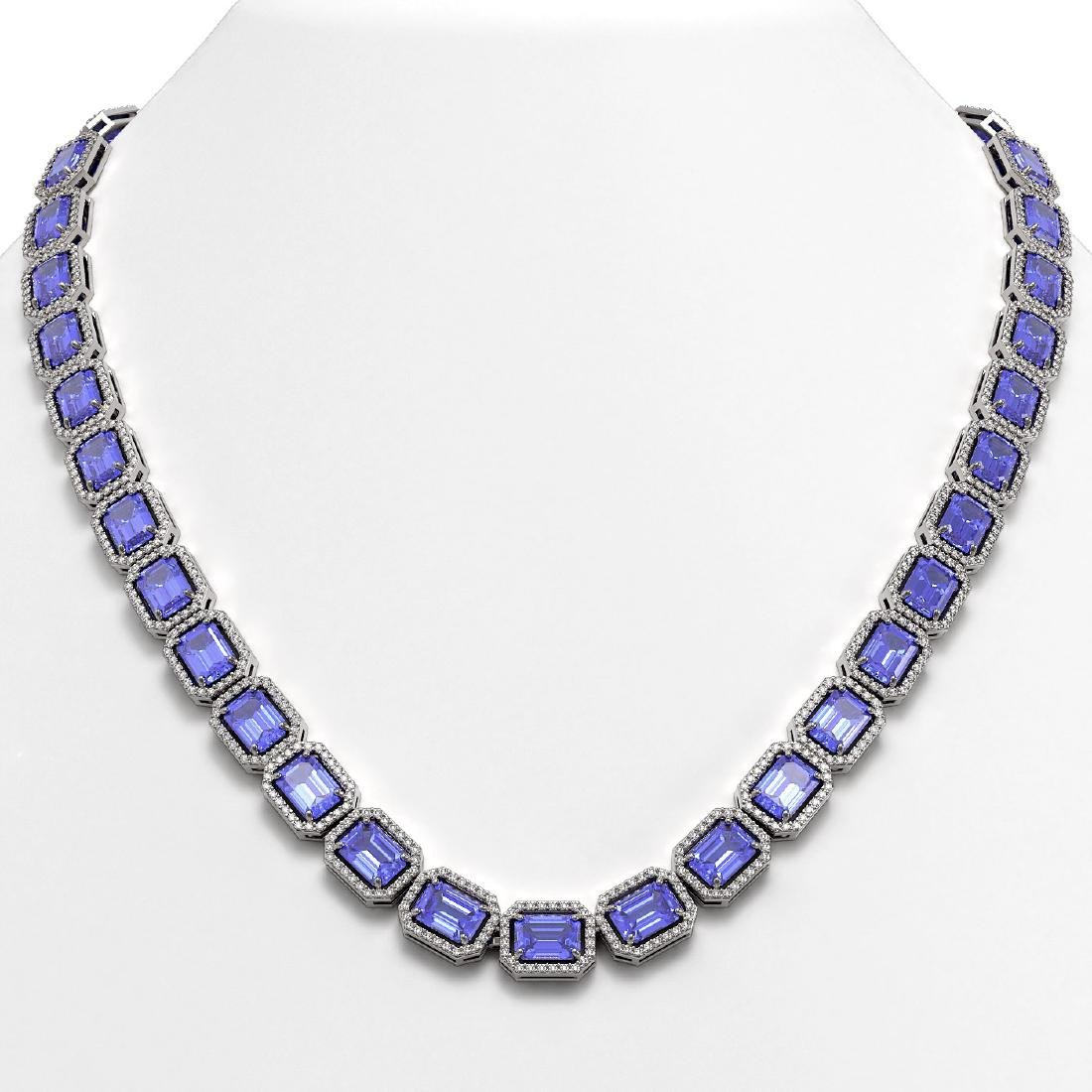 56.69 CTW Tanzanite & Diamond Halo Necklace 10K White