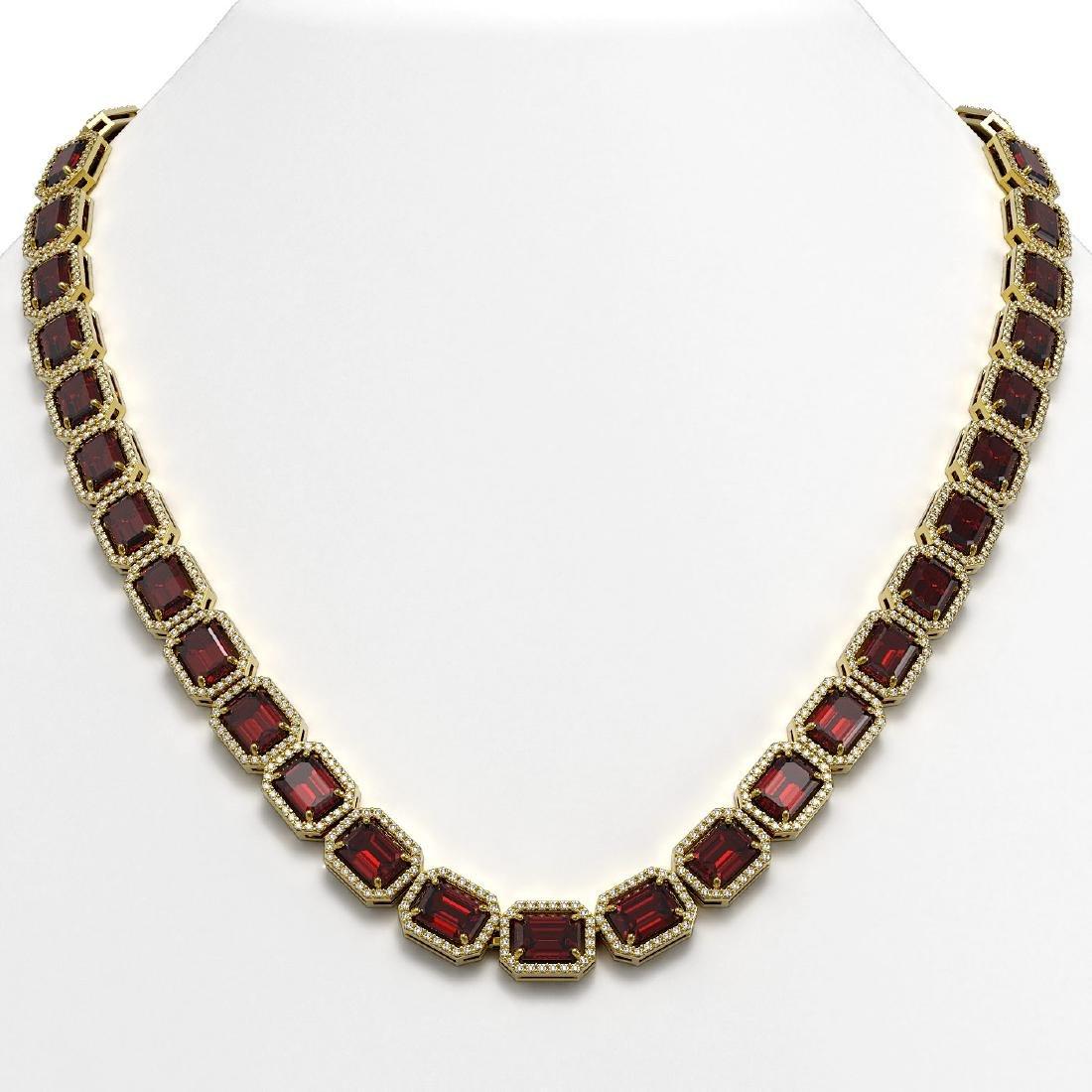 60.59 CTW Garnet & Diamond Halo Necklace 10K Yellow