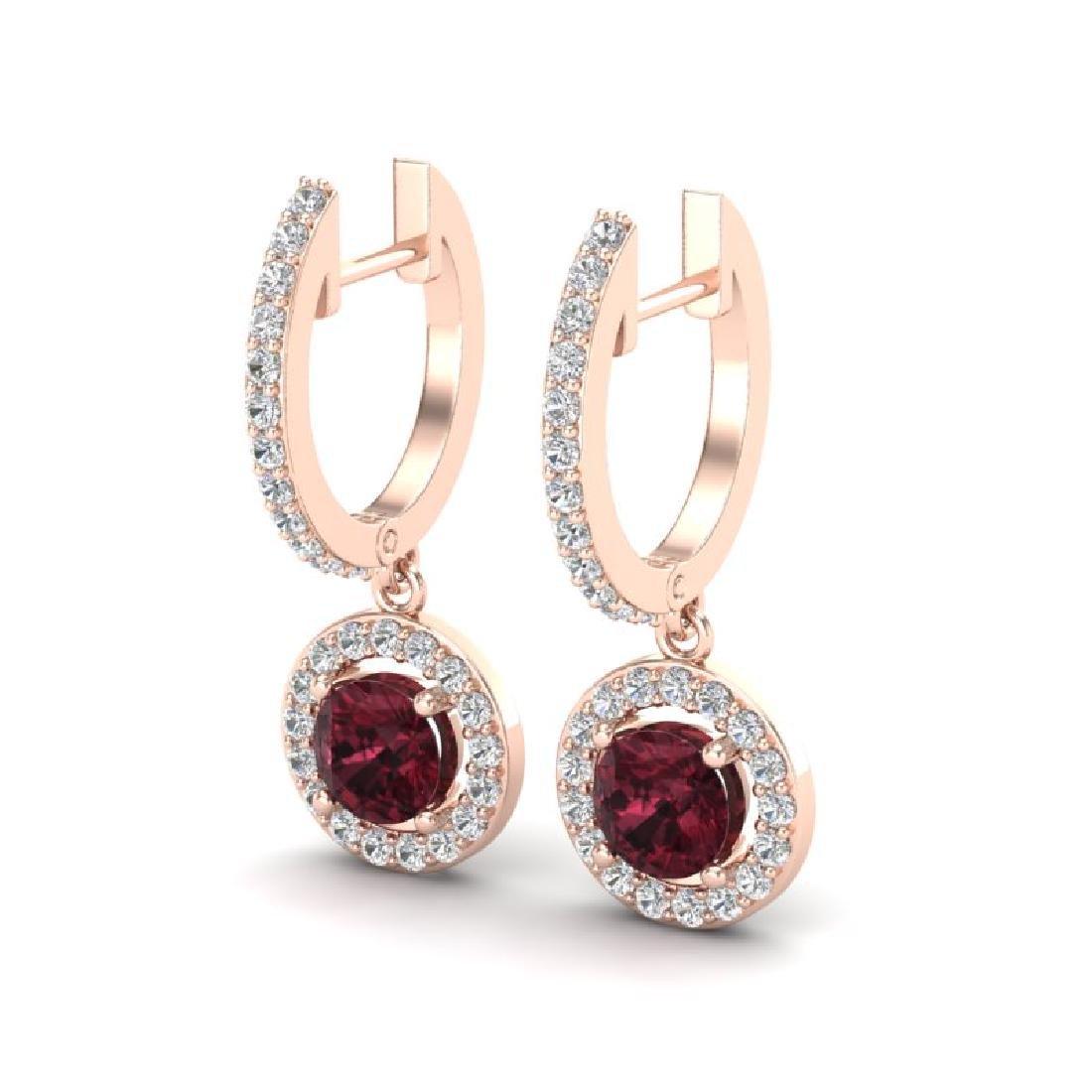 1.75 CTW Garnet & Micro Halo VS/SI Diamond Earrings 14K