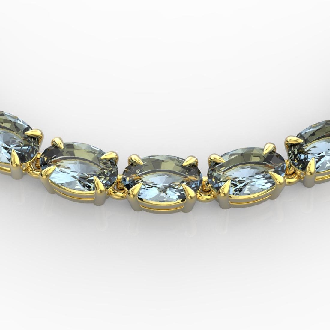 29 CTW Aquamarine Eternity Tennis Necklace 14K Yellow