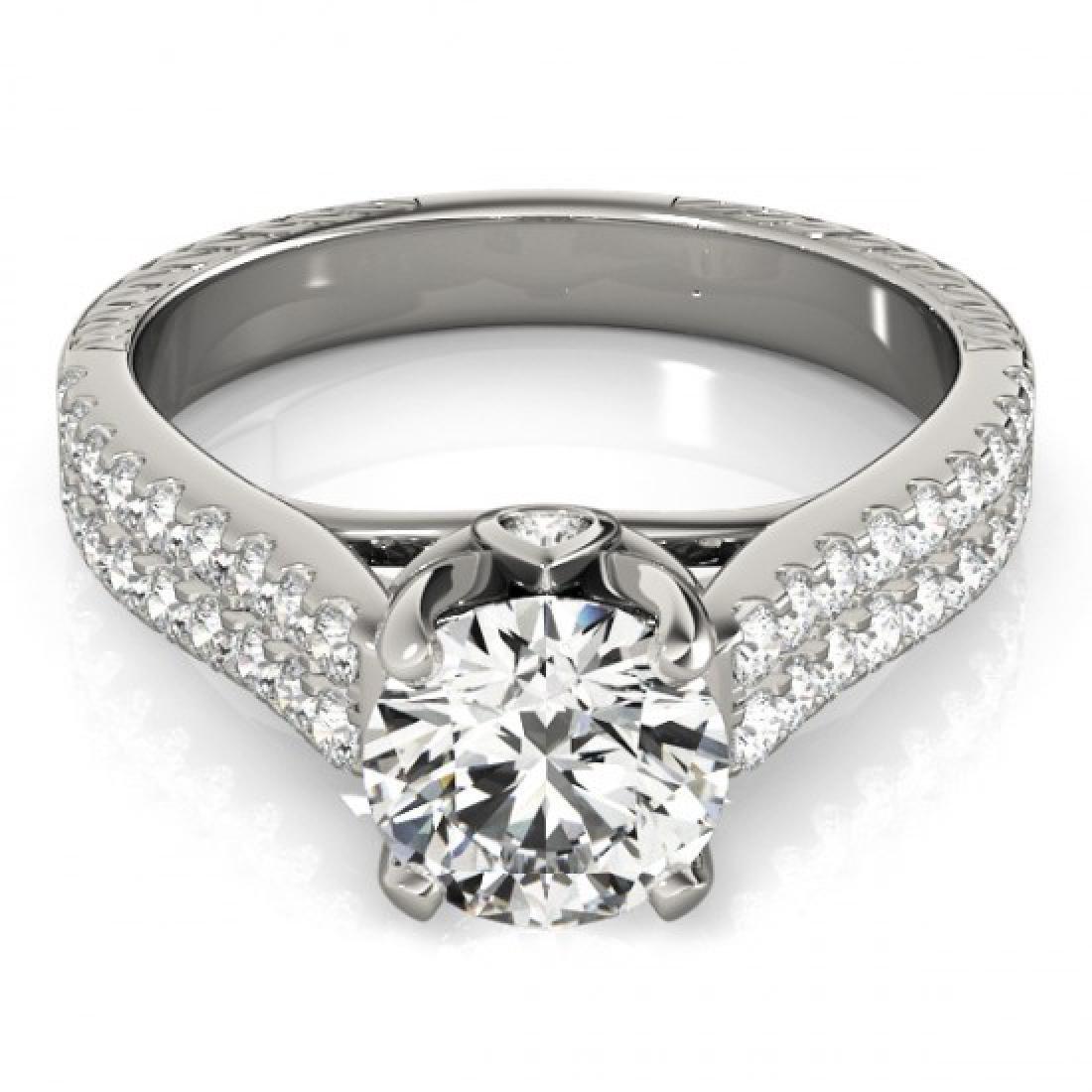 1.36 CTW Certified VS/SI Diamond Pave Ring 14K White