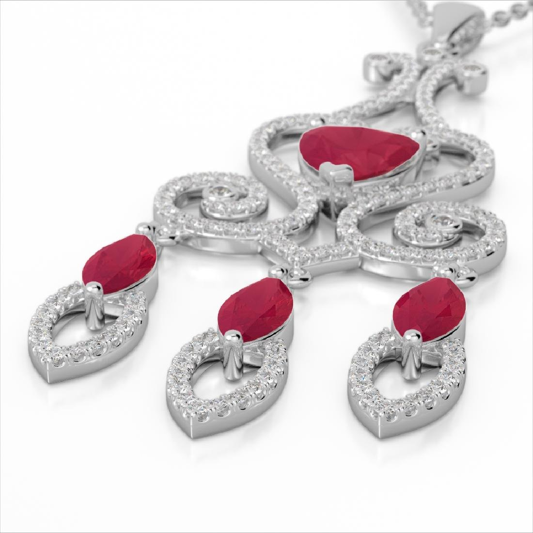 5.50 CTW Ruby & Micro Pave VS/SI Diamond Heart Necklace