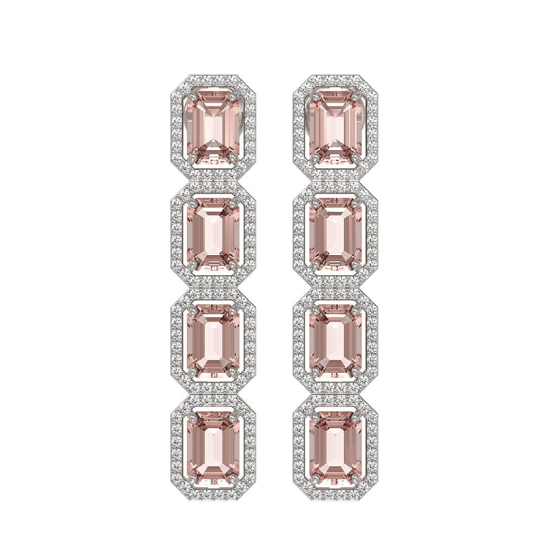 10.73 CTW Morganite & Diamond Halo Earrings 10K White