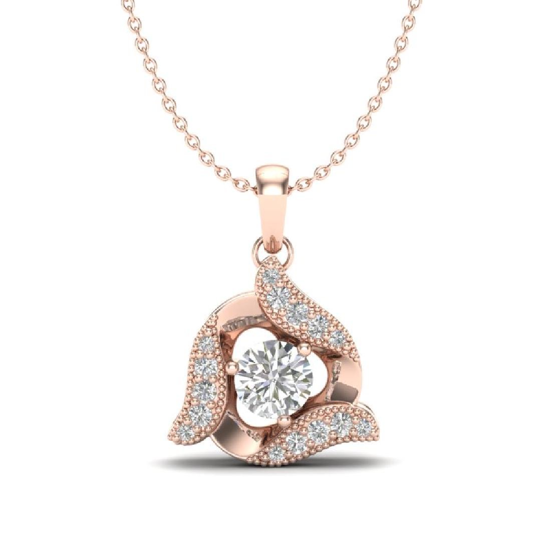 0.38 CTW Micro Pave VS/SI Diamond Halo Necklace 14K