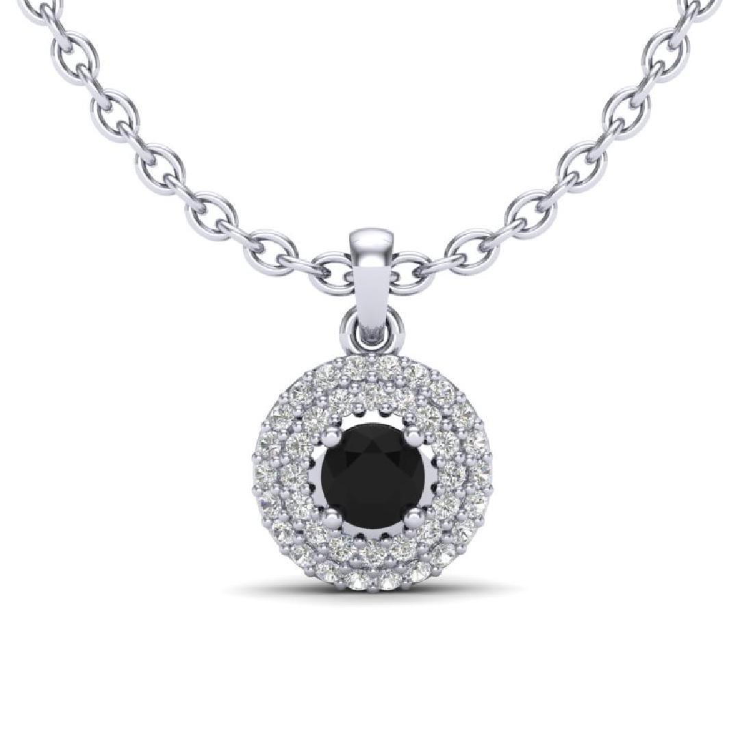 0.70 CTW Micro Pave VS/SI Diamond Designer Necklace 18K