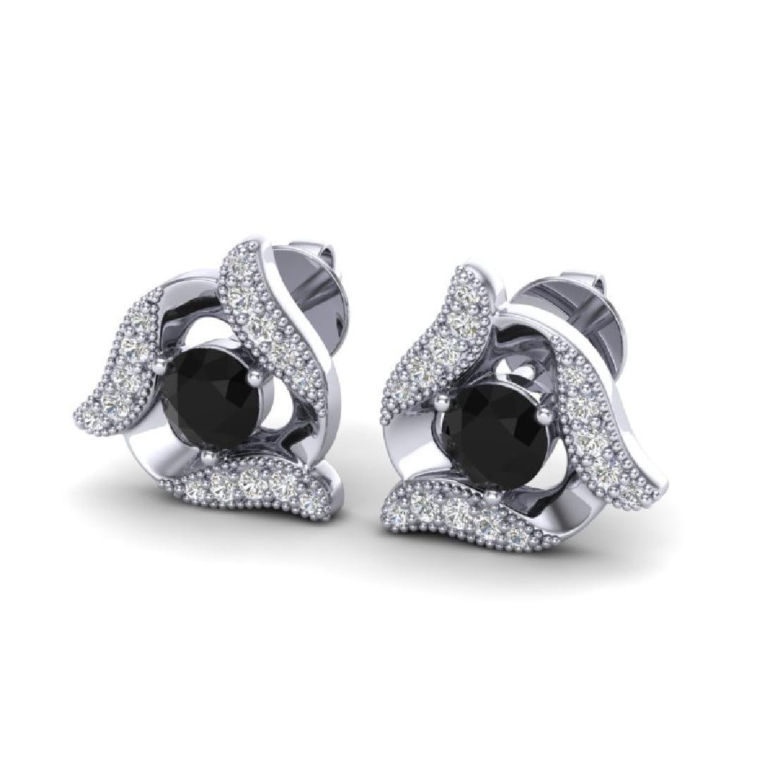 0.92 CTW Black & Micro Pave VS/SI Diamond Halo Earrings