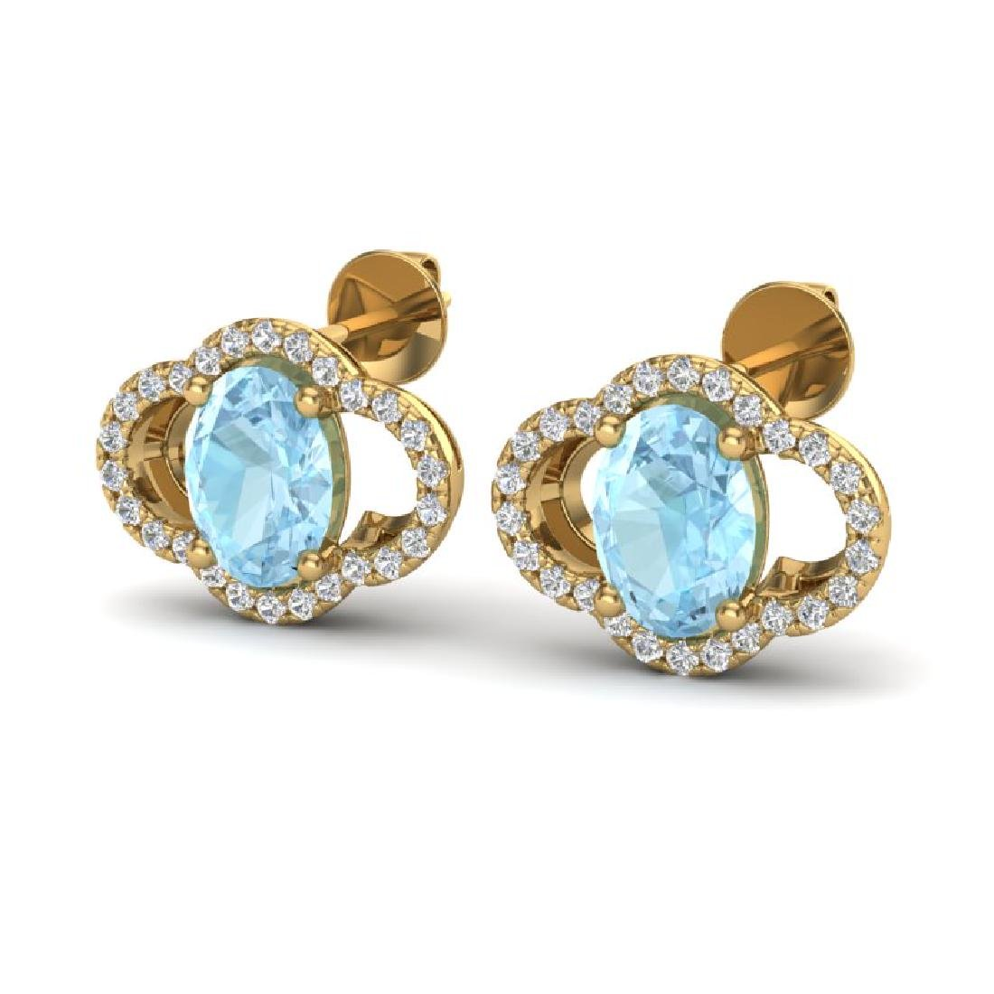 4 CTW Aquamarine & Micro Pave VS/SI Diamond Earrings