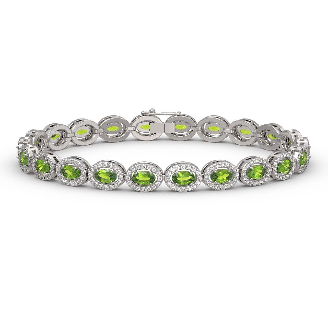 10.67 CTW Peridot & Diamond Halo Bracelet 10K White