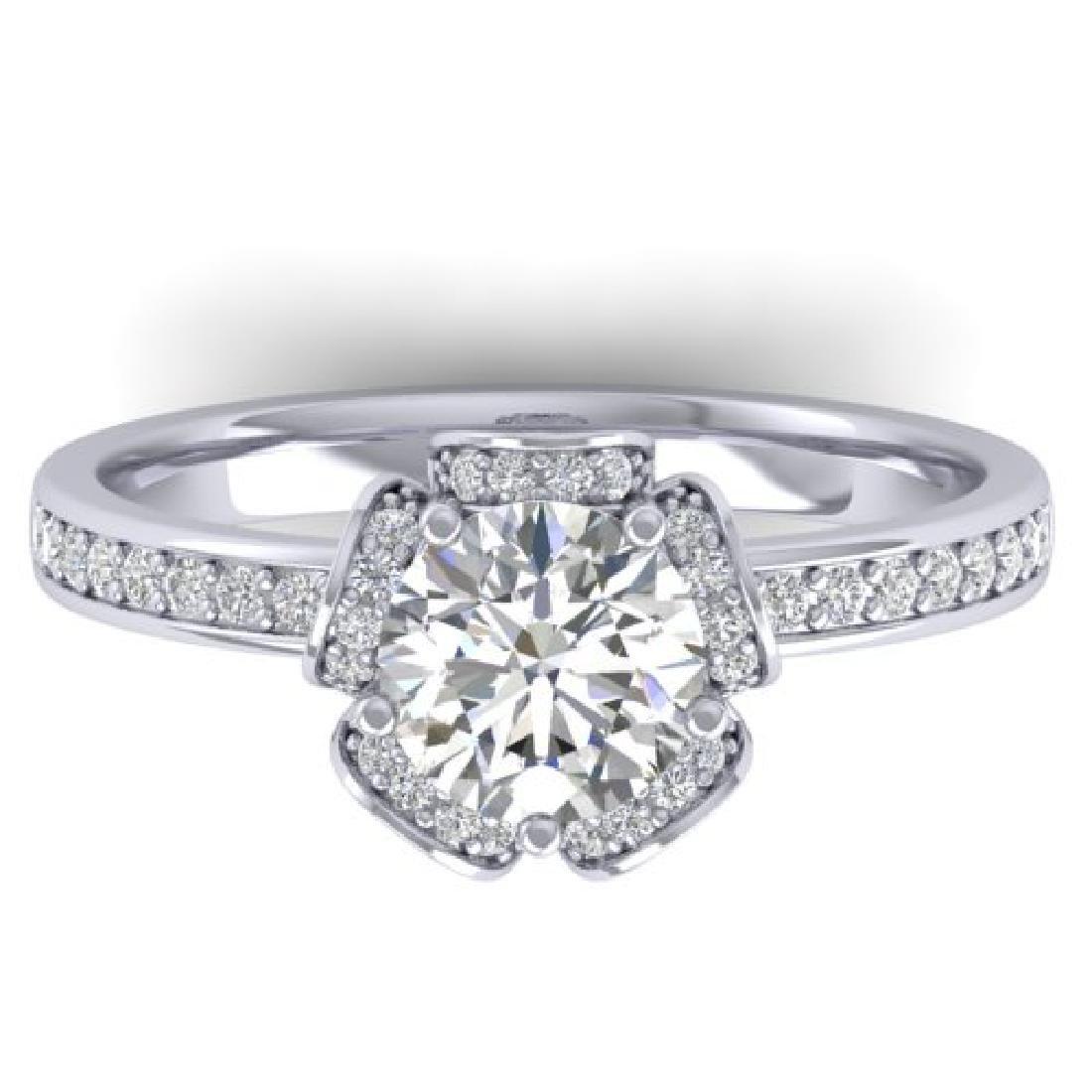1.75 CTW Certified VS/SI Diamond Art Deco Ring 18K