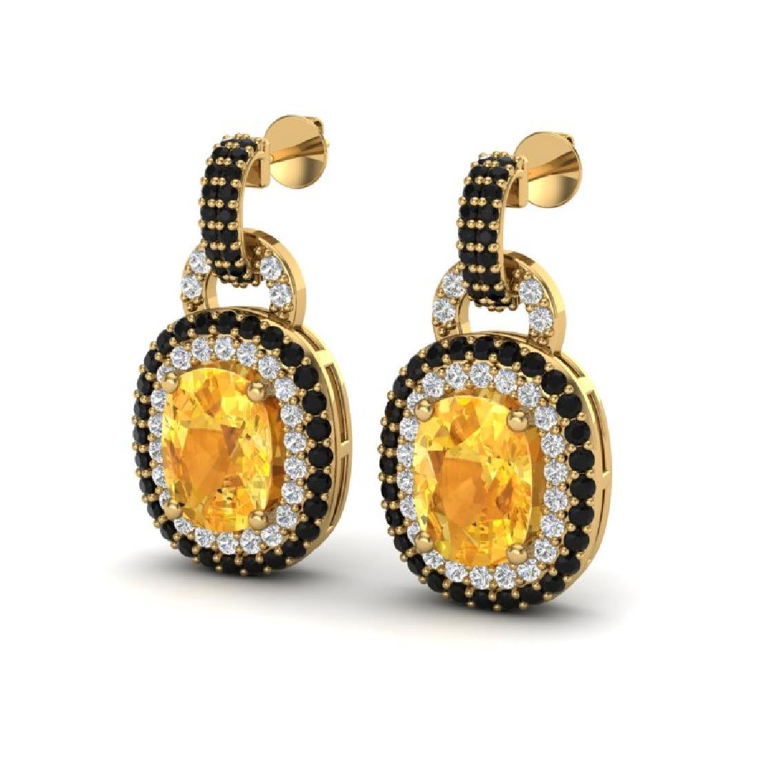 5 CTW Citrine & Black Micro Pave VS/SI Diamond Earrings