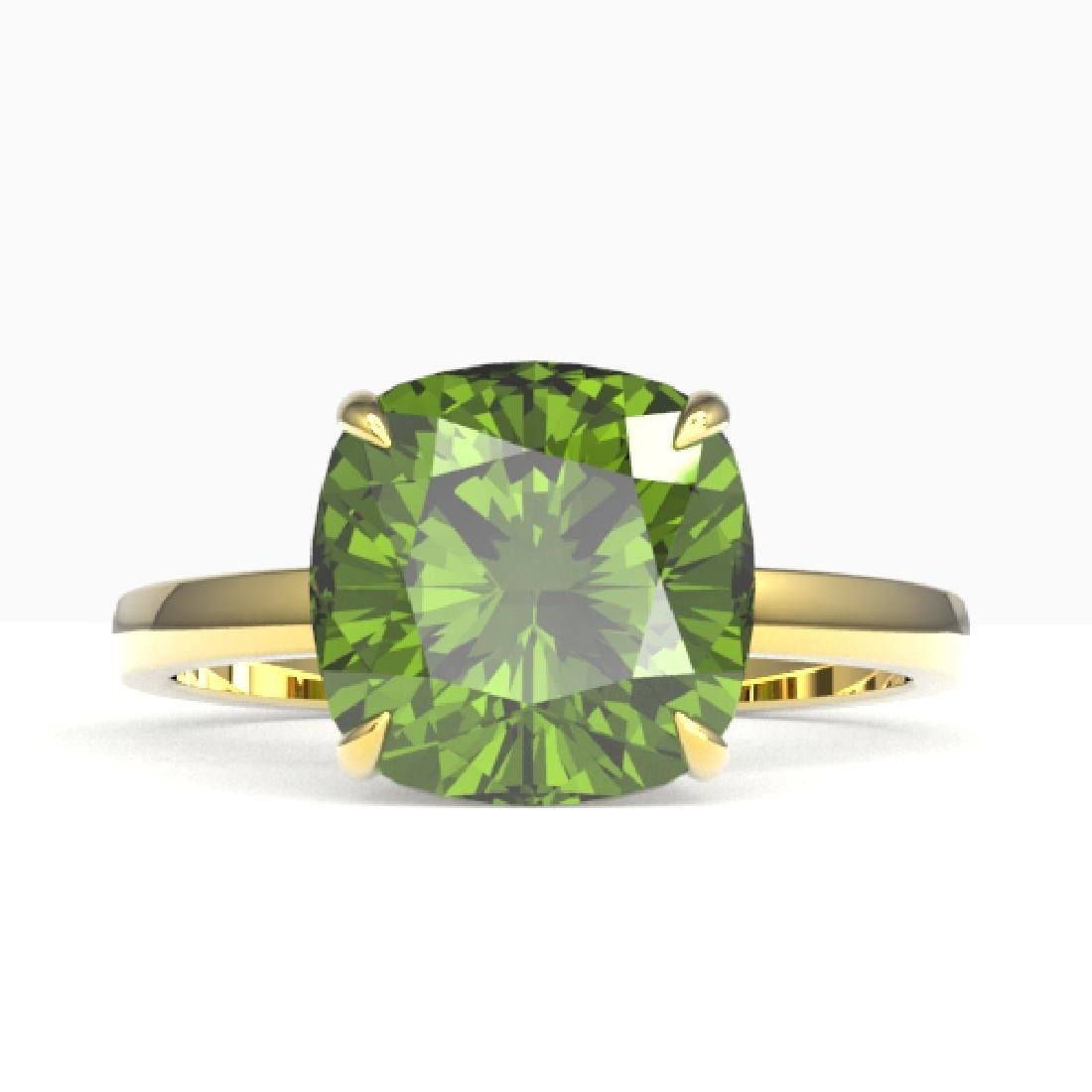 6 CTW Cushion Cut Green Tourmaline Designer Solitaire